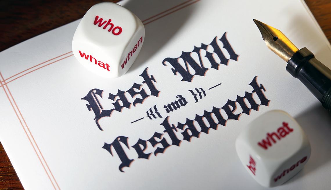 Documento de un testamento al lado de una pluma de escribir y dos dados que dicen quién y qué.