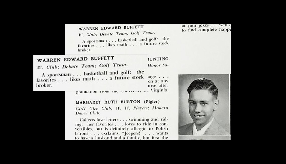 item 4 of Gallery image - Warren Buffet's high school yearbook predicts his stock broker future