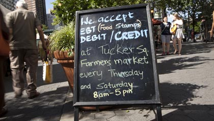 Food Stamps are accepted at 50 farmers markets in New York City like this one in Tucker Square near Lincoln Center