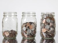 row of jars with coins, Fall Savings Challenge 2012