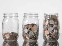row of jars with coins, Fall Savings Challenge 2012