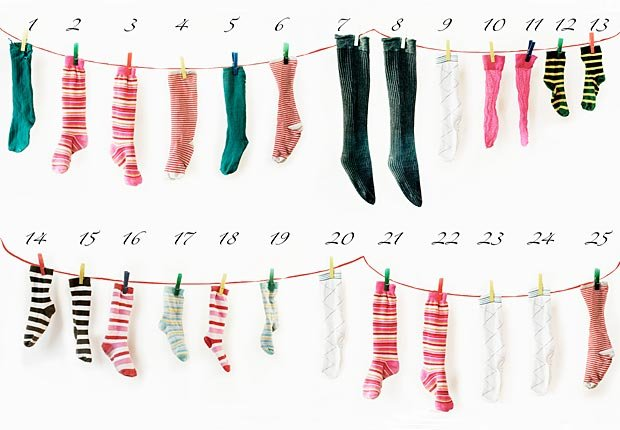 Repurposed socks for Advent calendar, frugal holiday season