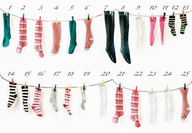 Repurposed socks for Advent calendar, frugal holiday season