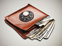 Wallet with money and combination lock, Keeping your money resolutions by saving more and spending less