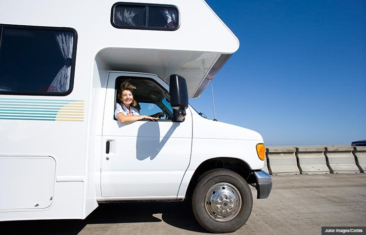 Woman In Sungles Motor Home Ing A Used R Juice Images Corbis