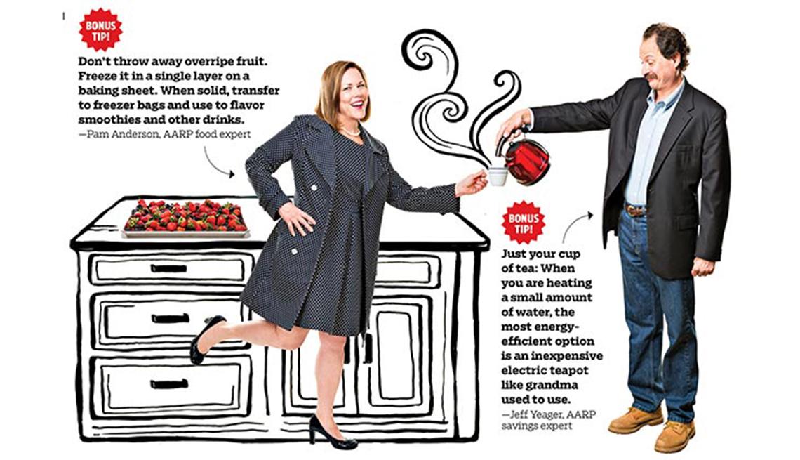Pam Anderson y Jeff Yeager muestran algunas maneras de ahorrar