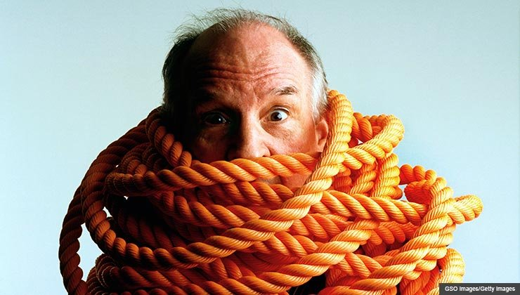 AARP advice about how to get out of a bad deal you made on your car, or your house, or a retail item- a man wrapped in thick rope