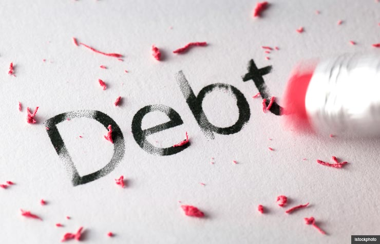 Pencil erasing debt, Steps to becoming debt-free (Istockphoto)