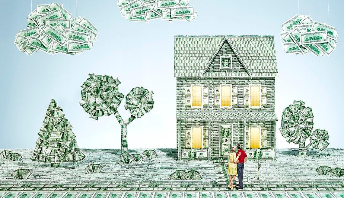 Ilustración de una casa en el campo hecha con dólares y aprende a como refinaciar tu hipoteca