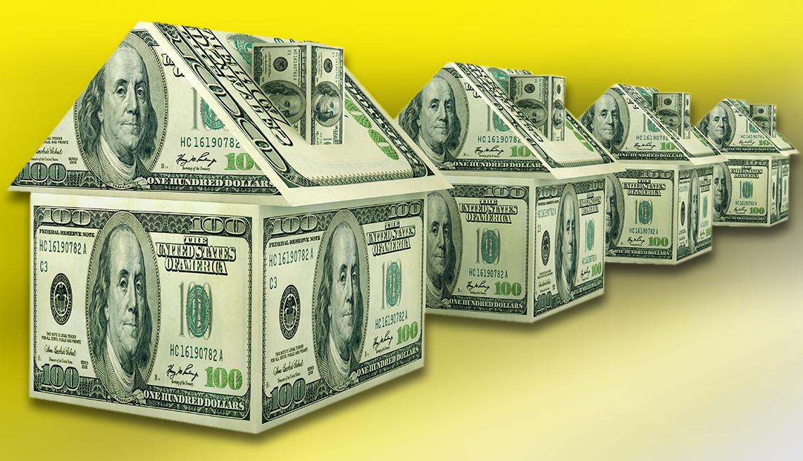 Gráfica de casas hechas con billetes