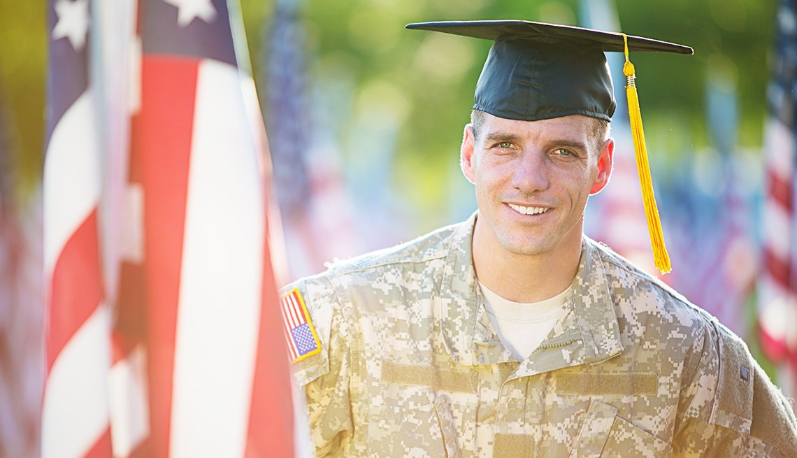 Veteran in board cap graduation
