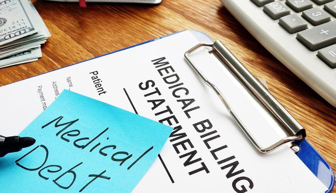 Medical debt written on a medical billing statement