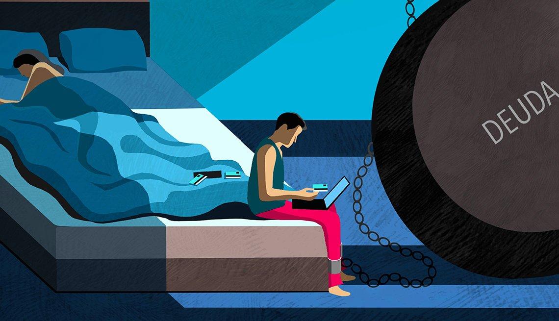 Ilustración de una pareja. La mujer duerme mientras el hombre tiene un grillete a una bola que dice deuda.