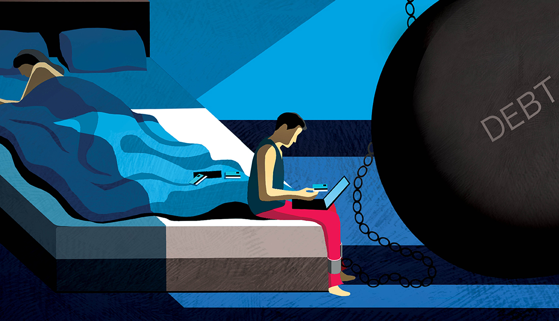 illustration of a man sitting on the edge of a bed at night with a laptop and a ball and chain of debt shackled to his ankle