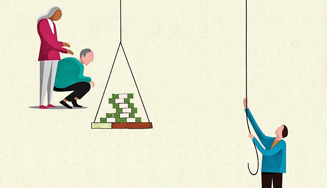 Ilustración de una pareja a un lado y el hijo al otro mientras sube una balanza con dinero.