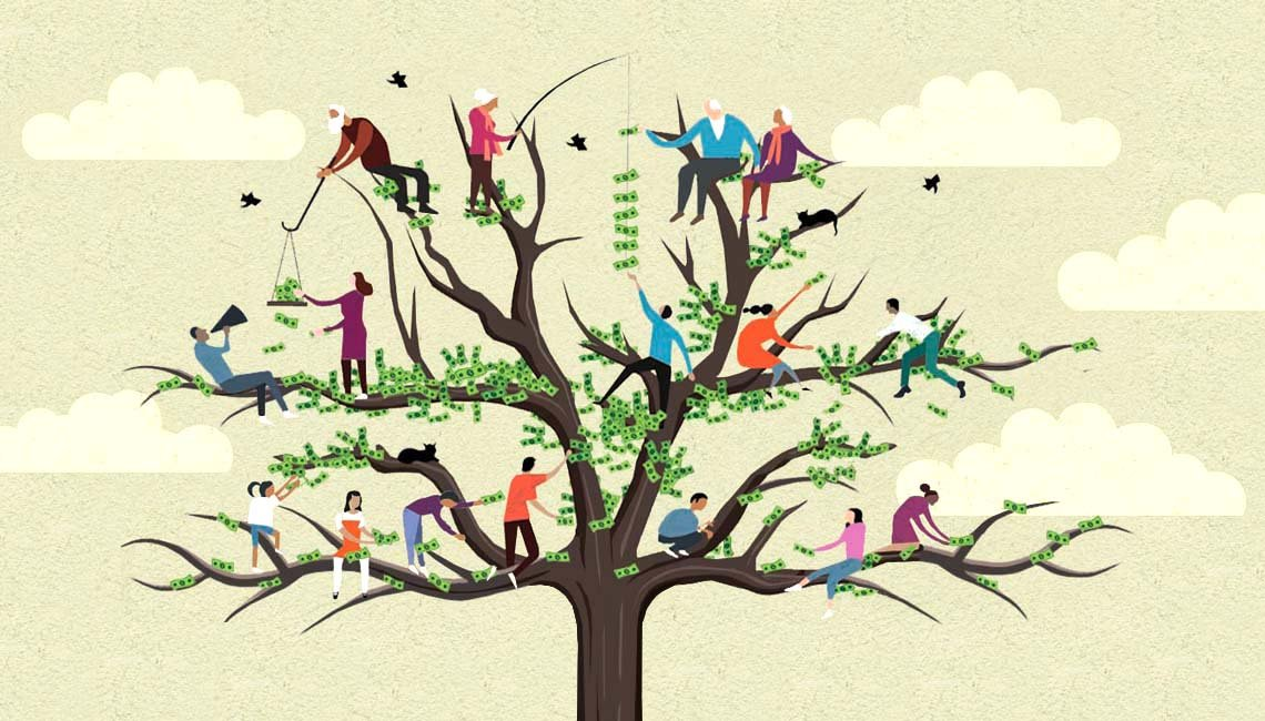 illustration of a money tree with people on each branch