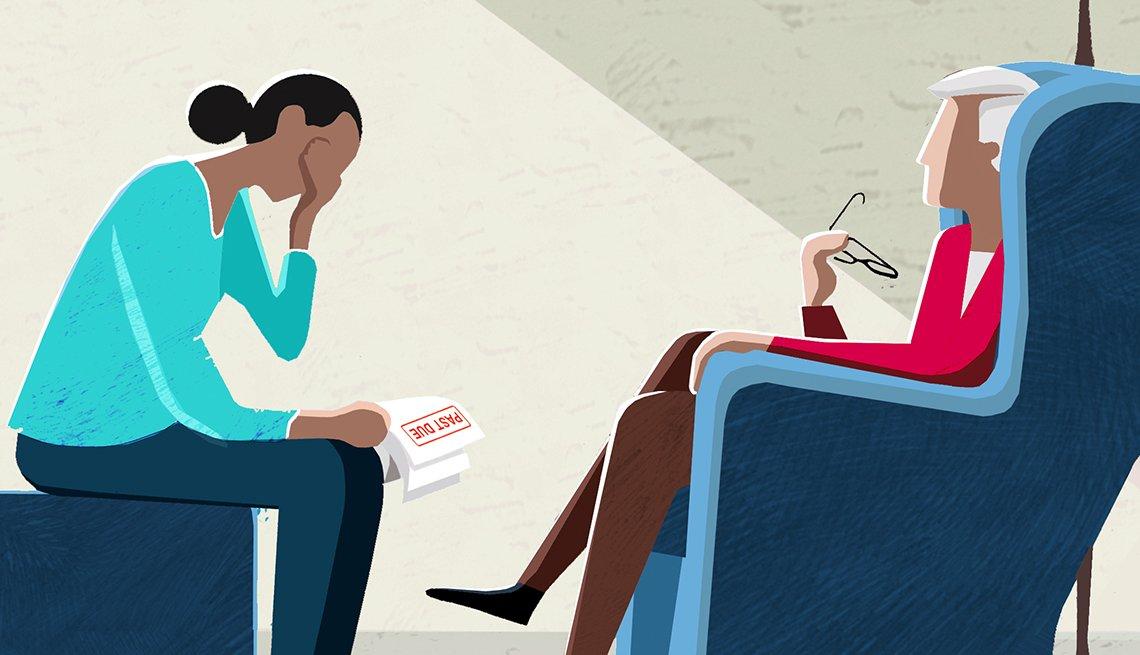 Ilustración de una persona mayor sentada en una silla mientras habla de deudas con otra.