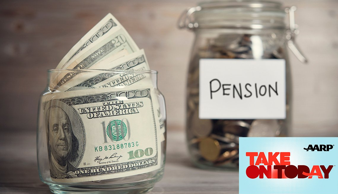 A jar with the word pensions on it filled with money