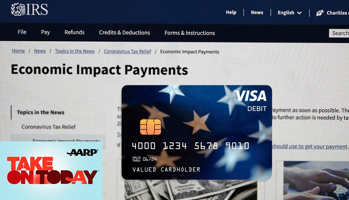 A debit card on top of a website image