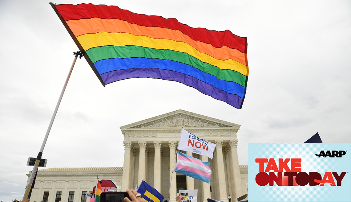 A rainbow flag flies outside the Supreme Court