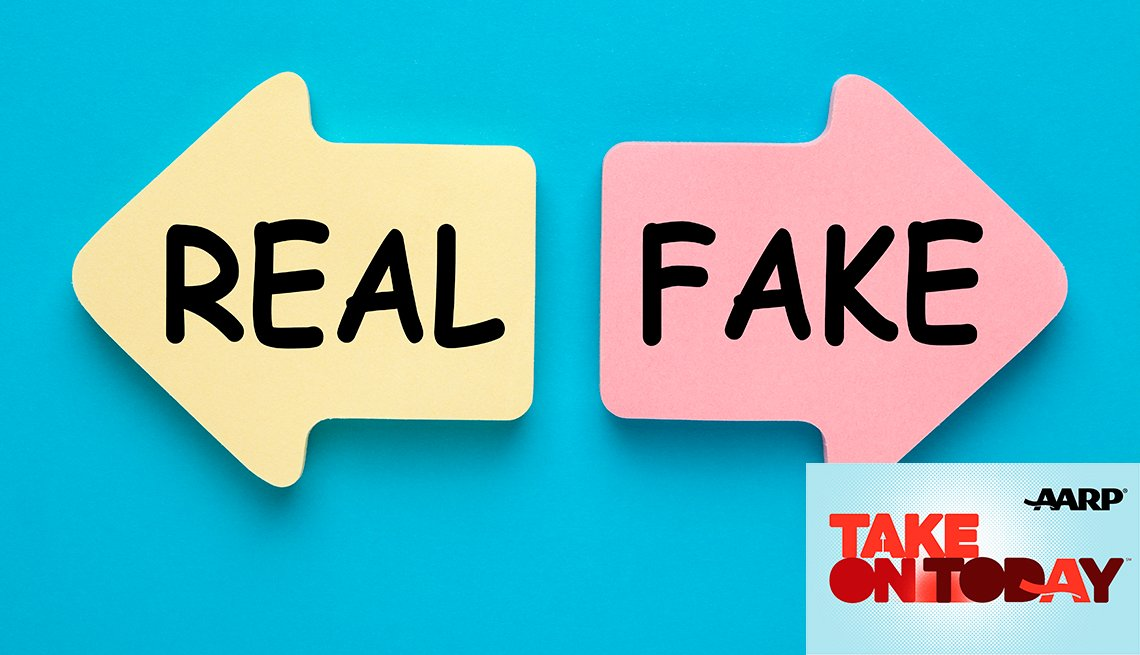Two arrows one that says real and the other says fake