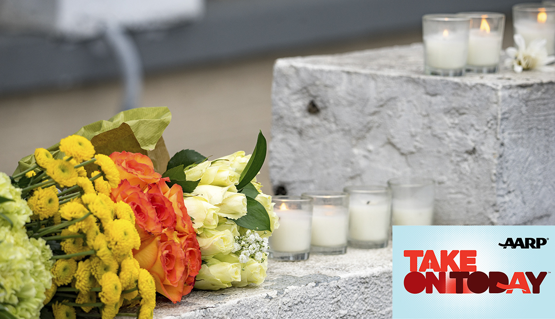 Flowers and candles outside