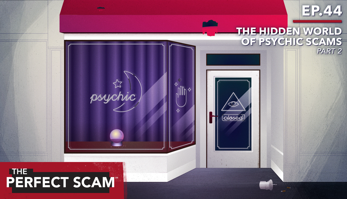 """Illustration graphic for Episode 44 - """"The Hidden World of Psychic Scams"""" Part 2"""
