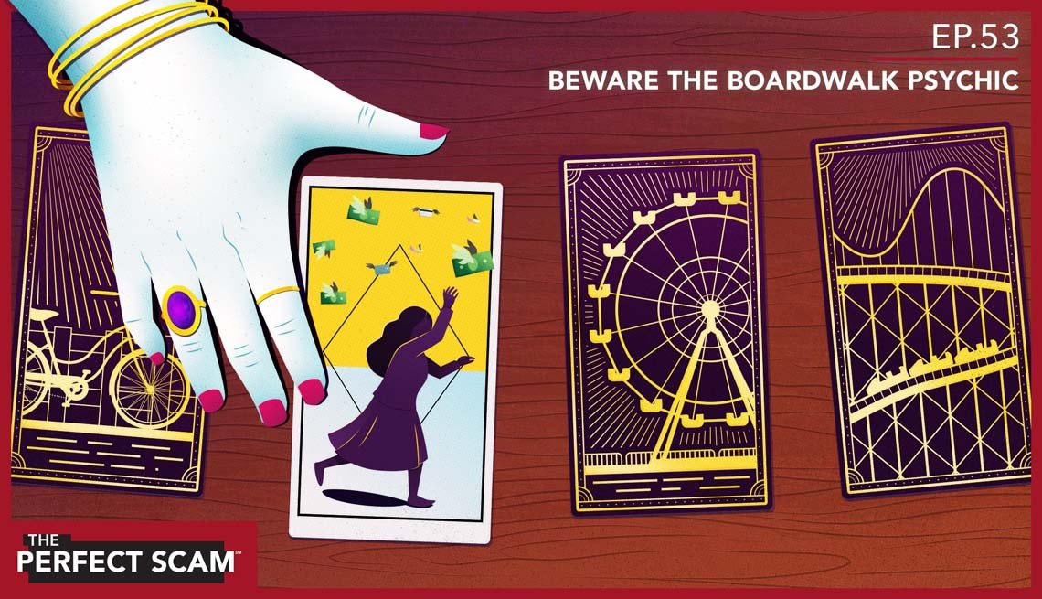 Graphic illustration of a fortune teller scam