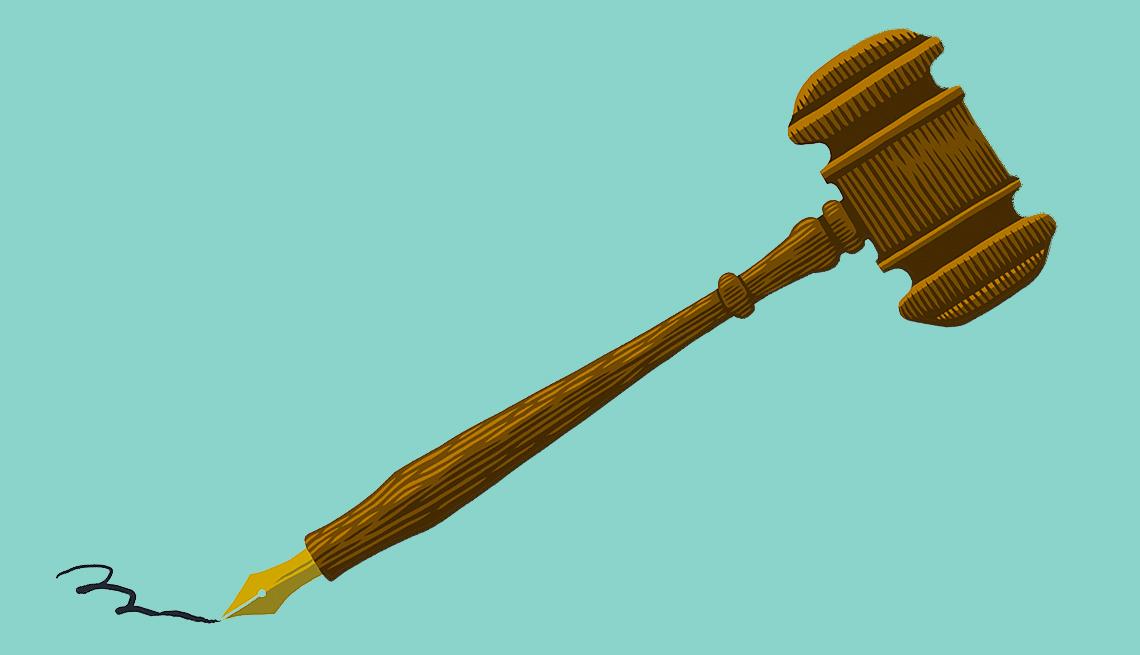 law gavel as a pen