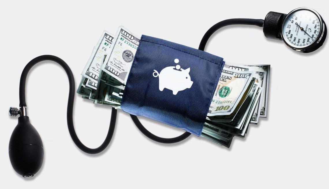 blood pressure cuff around money
