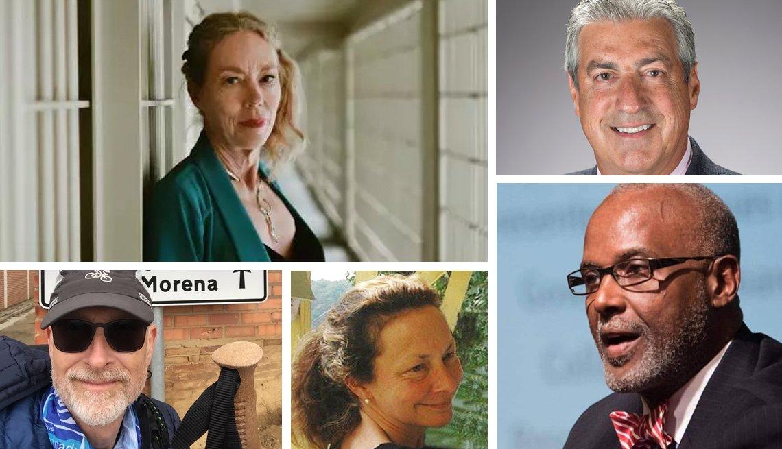 Retratos de Karen Gedney, Chris Stevens, Russ Eanes, Holly Carter, y Raymond Jetson