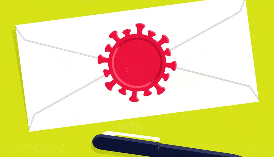 Sobre con un sello en forma de coronavirus y un lapicero al lado.