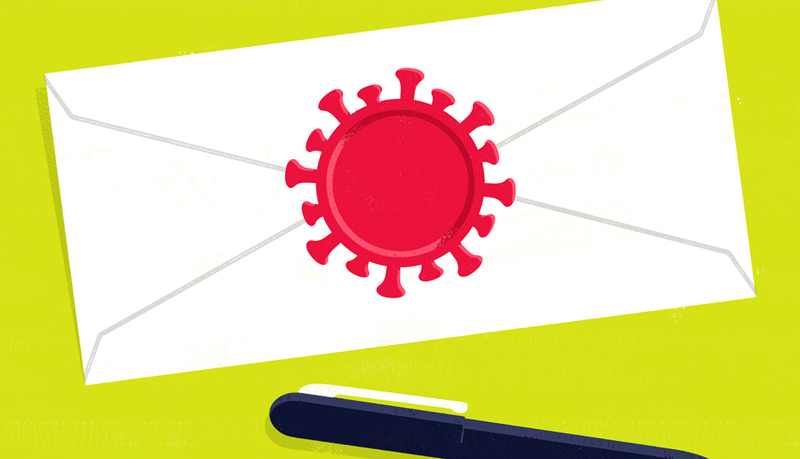 illustration of a last will sealed with a stamp that is shaped like a coronavirus cell