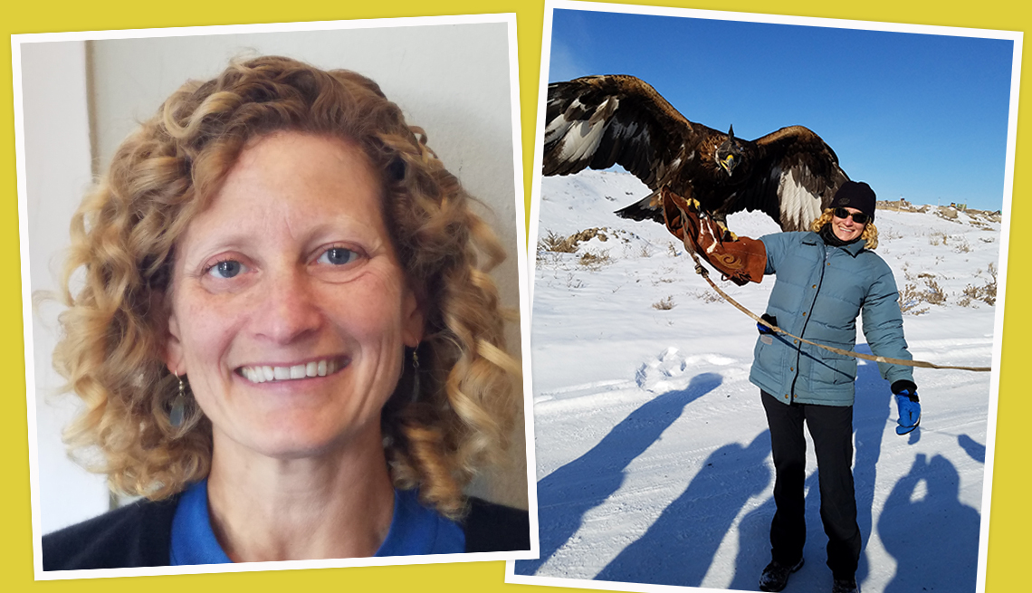 item 4 of Gallery image - two photos of rebecca sarah reis one a closeup and one of her standing outdoors in the snow with a falcon and another of her