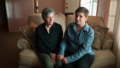 Georgette Burvee, left, and Victoria Deak worry their unmarried status will be legal minefield in retirement.