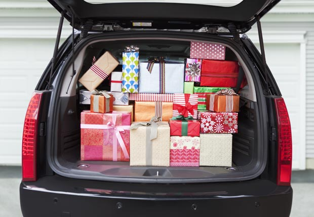 Car with trunk full of gifts