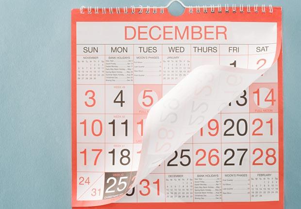 December calendar page turning