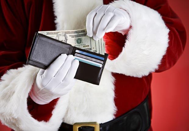 Santa holding a wallet