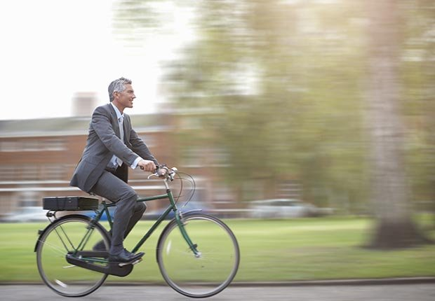 Business man on bike