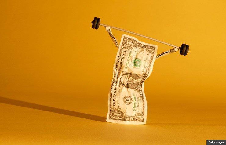 dollar bill dumbbell weight power saving savings money