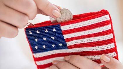 Monedero con la bandera americana