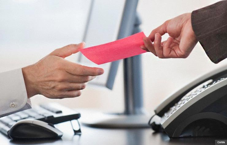 Receiving a pink slip at work