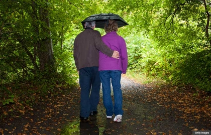 financial planning children family with special needs disability disabled investment advice walk in rain couple umbrella woods jane bryant quinn (Getty Images)