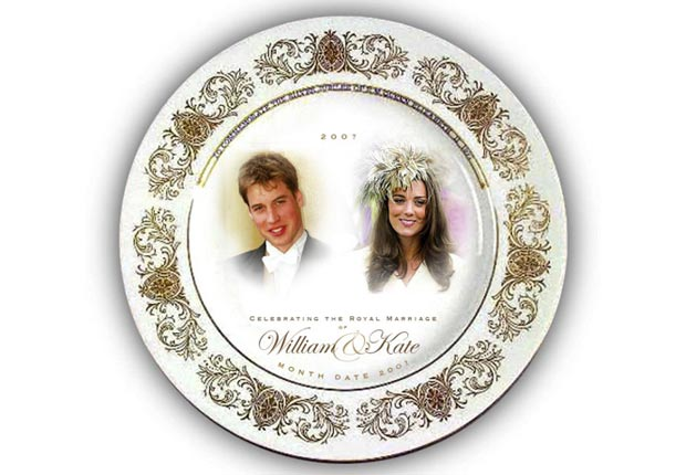 Souvenir plate is seen to mark the anticipated engagement of Prince William and his girlfriend Kate Middleton (Woolworths via Getty Images)