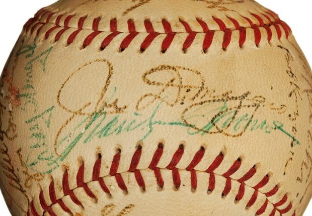 Signed baseball by Joe Dimaggio and kissed by Marilyn Monroe (Rex Features via AP Images)