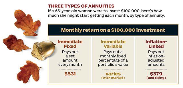 Three Types of Annuities: Immediate fixed, Immediate variable and Inflation linked