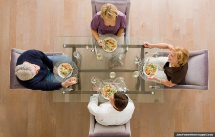 death dinner end of life conversation planning hospice palliative dnr burial plan directives wishes known party friends wine overhead (John Fedele/Blend Images/Corbis)