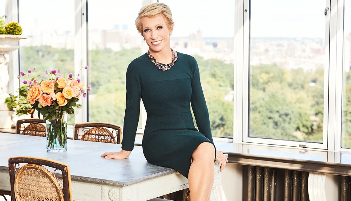 Businesswoman and Shark Tank investor Barbara Corcoran, sitting on kitchen table