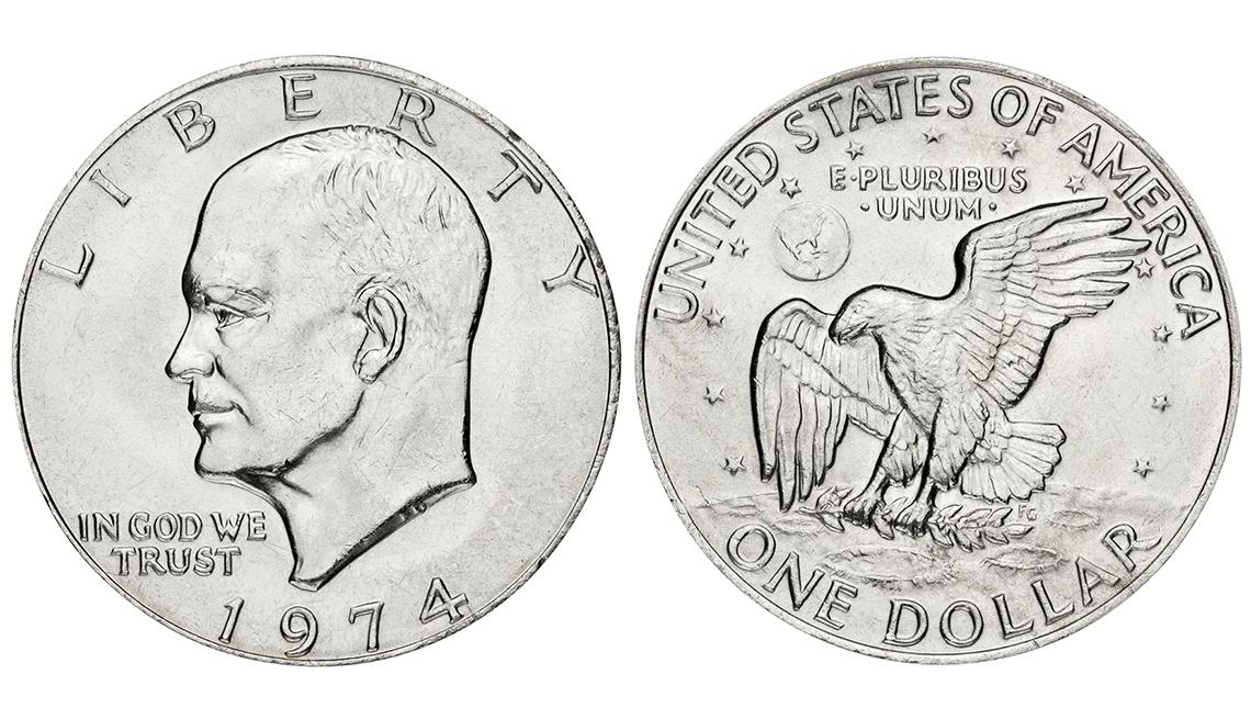 Moneda de dólar de 1974 con la imagen de Eisenhower, artículos de colección de valor