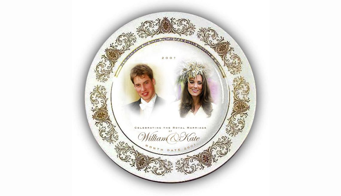 Plato de porcelana con los retratos del príncipe William y Kate Middleton el día de su boda, artículos de colección de valor